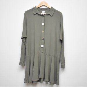 ASOS Green Button Detail Long Sleeve Shift Dress 8